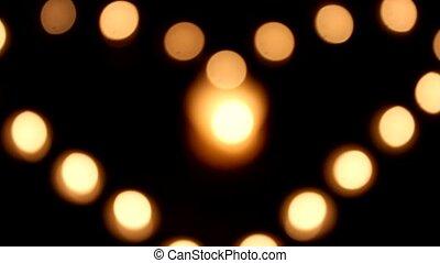 lumières, coeur, -, amour, bougies