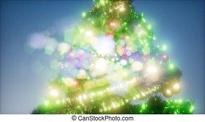 lumières, coloré, studio, noël, joyeux, coup, arbre