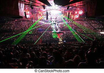 lumières, dans, salle concert