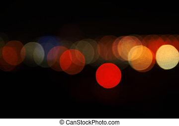 lumières, de, ville, soir
