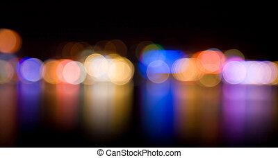 lumières, defocused, nuit