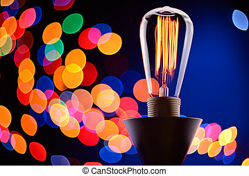 lumières, edison, ampoule, lumière