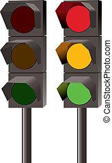 lumières, ensemble, vecteur, trafic