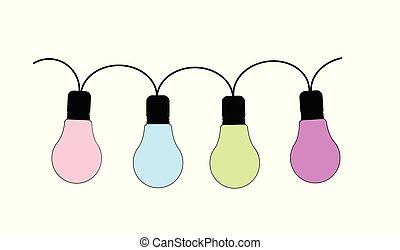 lumières, fée, ensemble, isolé, 4