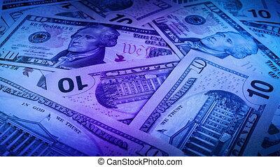 lumières, factures, dollar, dix, fête