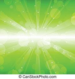 lumières, fond, résumé vert