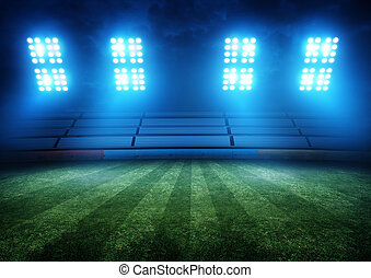 lumières, football, stade