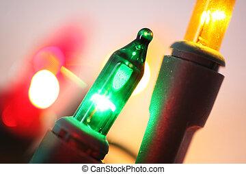 lumières, haut, noël, fin