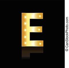 lumières, incandescent, e, lettre, logo