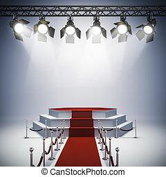 lumières, installation, étape, tache, 3d