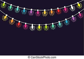 lumières, instruments à cordes, coloré, noël