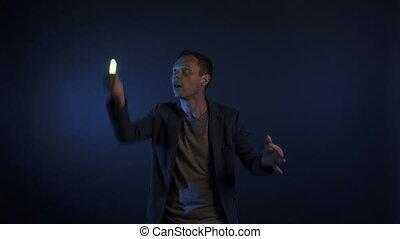 lumières, interprète, vidéo, homme