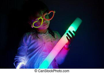 lumières, jeu, girl, peu, coloré