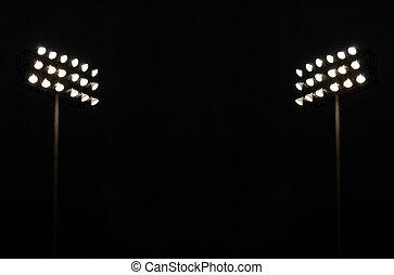 lumières, jumeau, stade