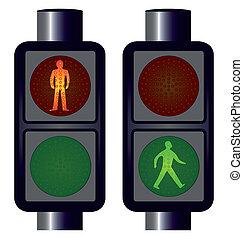 lumières, marche, trafic, homme