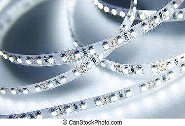 lumières, mené, bande, strip., diode