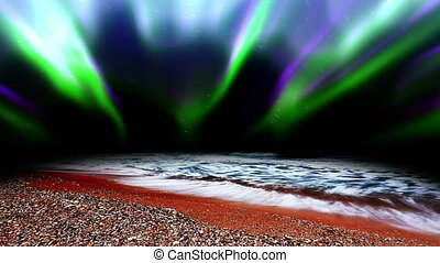 lumières, mer, nord, vagues