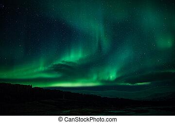 lumières, nord, islande