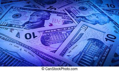 lumières, notes, dollar, dix, fête