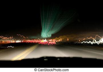 lumières, &, nuit, autoroute