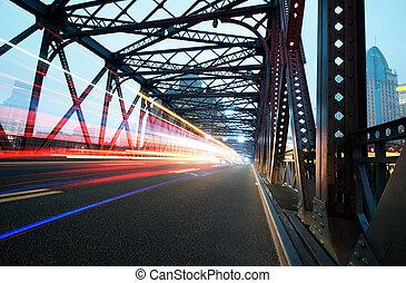 lumières, nuit, trafic