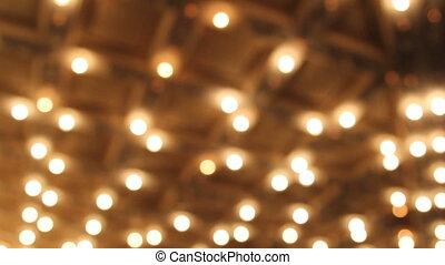 lumières, plafond, bokeh, salle, concert