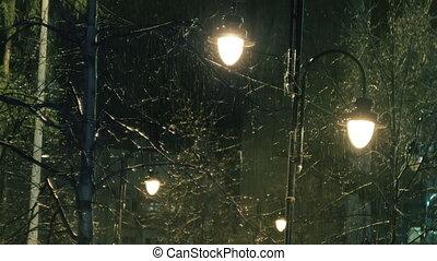 lumières, pluvieux, rue, nuit