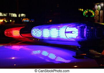 lumières, police, nuit