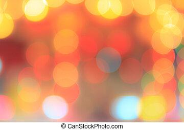 lumières, résumé, bokeh, fond, brouillé