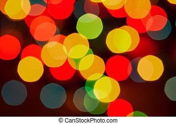 lumières, résumé, defocused, fond, noël