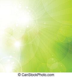 lumières, résumé, vert, bokeh, fond