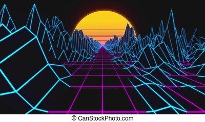 lumières, retrowave, bas, paysage, horizon, néon, poly, retro, terrain., fond, animation., boucle, 80s