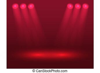 lumières, rouges, étape