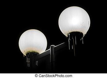 lumières, rue, glaçons