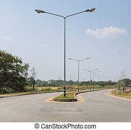 lumières, rue, route