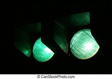 lumières, rue, vert