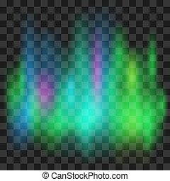 lumières septentrionales, isolé, illustration, arrière-plan., vecteur, transparent