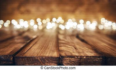 lumières, sur, bois, rustique, fond