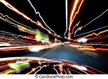 lumières, trafic, dans-voiture