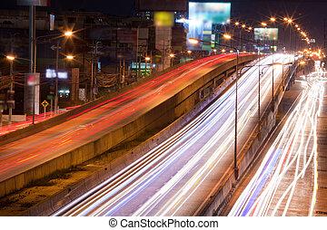 lumières, trafic, nuit
