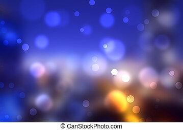 lumières, urbain, bokeh, coloré, brouillé