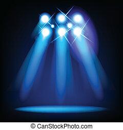 lumières, vecteur, étape