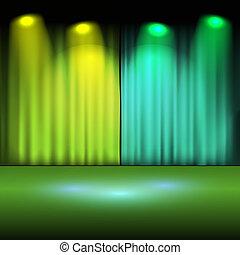 lumières, vert, étape