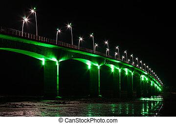 lumières, viaduc, vert, sous