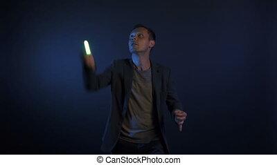 lumières, vidéo, illusionniste, homme