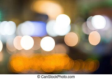 lumières ville, arrière-plan., bokeh, rue, nuit