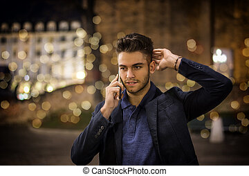 lumières ville, jeune, téléphone, nuit, homme