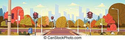 lumières ville, rue, trafic, vide, passage clouté, route