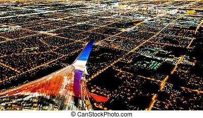 lumières ville, vegas, nuit, avion, las