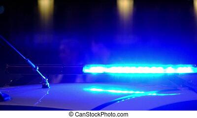 lumières, voiture, sombre, police, clignotant